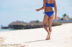 Adorable happy smiling little girl on beach Stock Images