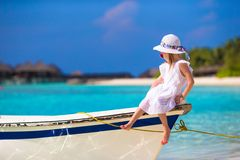 Adorable happy smiling little girl on boat in the Royalty Free Stock Photography
