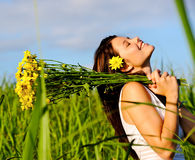 Adorable happy summer woman Stock Images