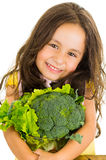 Adorable healthy little girl holding salad bowl Royalty Free Stock Photos