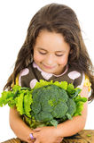 Adorable healthy little girl holding salad bowl Royalty Free Stock Image