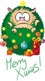 Adorable hedgehog dressed as a Christmas tree Stock Images