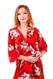 Adorable hermoso en vestido rojo del resto Imagen de archivo