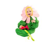 Adorable сhild boy, dressed in flower costume on white background. The concept of childhood Stock Photo