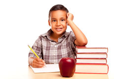 Adorable Hispanic Boy with Books, Apple, Pencil an Stock Image