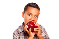Adorable Hispanic Boy Eating a Large Red Apple Royalty Free Stock Photography