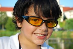 Adorable Hispanic boy in Sunglasses stock photography