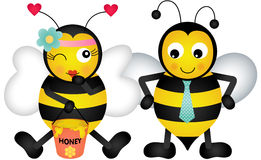 Adorable honey bees in love Royalty Free Stock Image