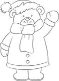 Beautiful illustration of a bear, in black and white, dressed for winter, ideal for children`s book vector illustration
