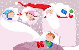Merry Christmas and Happy New Year - Santa Claus. lovely little kids, toys and Christmas presents Stock Photo
