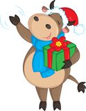 Adorable illustration of a cute cow, waving, dressed for Christmas, and holding a gift, for children`s book or Christmas card stock illustration