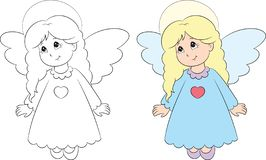 Before and after illustration of an angel, in black and white and in color, perfect for children`s coloring book vector illustration