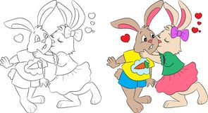 Black and white and color illustration of a couple of rabbits kissing, for children`s coloring book,Valentine`s Day or Easter card royalty free illustration