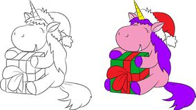 Adorable before and after illustration of a cute little unicorn holding and hugging a present, for children`s coloring book royalty free illustration