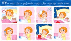 Daily routine of a little girl with ginger hair - Set of eight good morning and good night routine actions. Adorable illustration of a little girl with ginger Stock Image