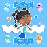 Summer fun - Lovely little mermaid and her ocean friends - Isolated. Adorable illustration of a little mermaid with dark brown hair and her ocean friends stock illustration