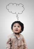 Adorable Intelligent Little Boy Thinking Empty Cloud - Chalk Boa Royalty Free Stock Photo