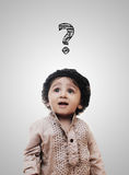Adorable Intelligent Little Boy Thinking Question Mark Stock Photos