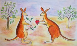 Adorable Kangaroos in love Royalty Free Stock Photography