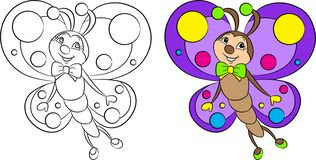 Adorable before and after kawaii drawing of a little butterfly, beautifully colored, for children`s coloring book or coloring game royalty free illustration