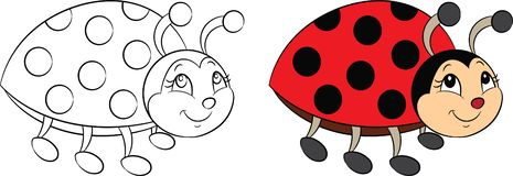 Before and after, contour and color kawaii drawing of a little ladybug for children`s coloring book or coloring game royalty free illustration
