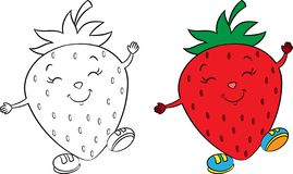Before and after kawaii drawing of a cute little strawberry, happy, with shoes, in color and contour, for children`s coloring book royalty free illustration
