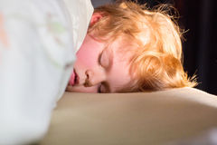 Adorable kid boy sleeping and dreaming in his bed Royalty Free Stock Photo