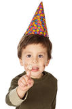 Adorable kid celebrating his birthday Royalty Free Stock Images