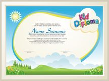 Adorable kid diploma with nature landscape royalty free illustration