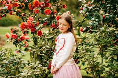 Fashion portrait of a cute little girl of 7 years old royalty free stock photos