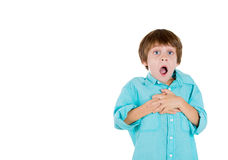 Adorable kid with hands on chest and jaw dropped Stock Photos