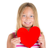 Adorable kid holding heart Royalty Free Stock Photos