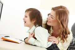 Adorable kid and mother Royalty Free Stock Photo