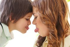 Adorable kid and mother Royalty Free Stock Image