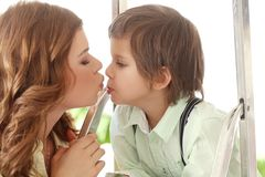 Adorable kid and mother Royalty Free Stock Photos