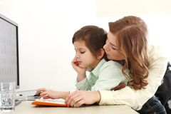 Adorable kid and mother Royalty Free Stock Images