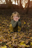 Adorable kid in park stock images