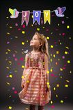 Adorable kid in pink princess dress. Isolated on grey with confetti and joy symbol illustration vector illustration