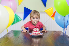 Adorable kid's birthday party stock photo