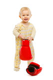 Adorable kid standing with boxing gloves Royalty Free Stock Photography
