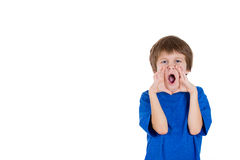 Adorable kid yelling with hands around mouth Stock Photography
