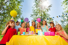 Adorable kids having fun at the birthday party Stock Image