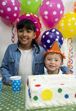 Adorable kids having fun at birthday party. Stock Images