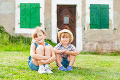 Adorable kids outdoors Stock Photo
