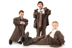 Adorable Kids in Over Sized Suits Stock Photos