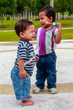 Adorable Kids Play Bubbles Royalty Free Stock Photography