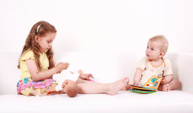 Adorable kids playing Stock Images