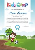 Adorable kids summer camp diploma. Kids summer camp diploma with Adorable and lovely Template design, with a fresh and adorable background of natural landscapes vector illustration