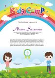 Adorable kids summer camp diploma. Kids summer camp diploma with Adorable and lovely Template design, with a fresh and adorable background of natural landscapes stock illustration