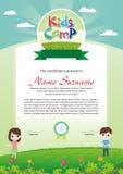 Adorable kids summer camp diploma vector illustration